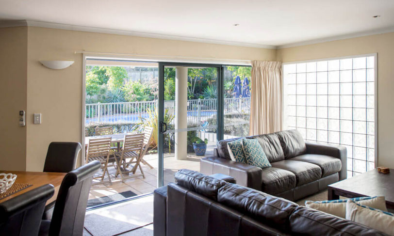 3 bedroom poolside apartment at the reef apartments, mount maunganui